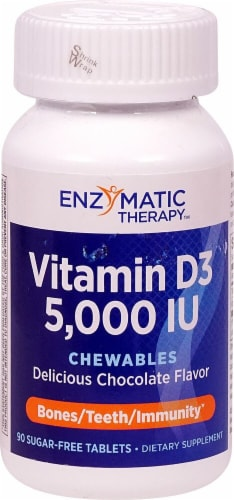Enzymatic Therapy Chocolate Vitamin D3 5000 IU Chewables Perspective: front