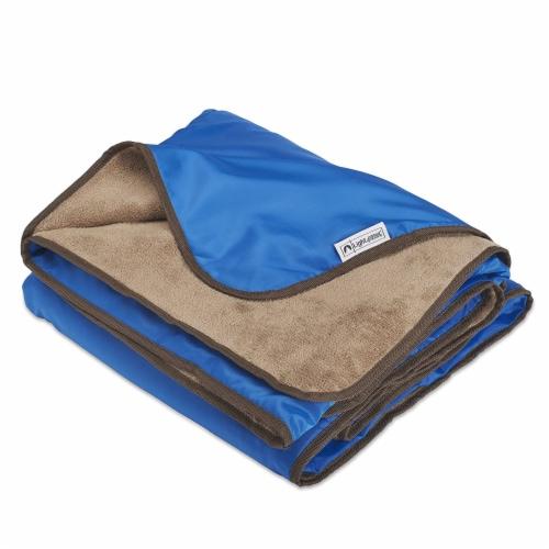 Lightspeed XL Ultra-Plush Waterproof Outdoor Stadium Blanket w/ Travel Bag, Blue Perspective: front