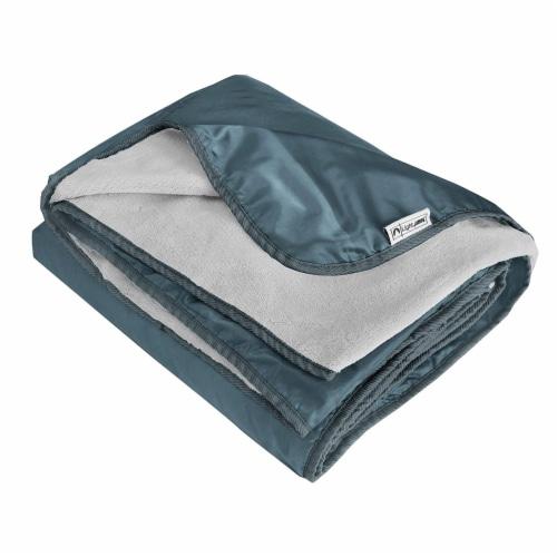 Lightspeed XL Ultra-Plush Waterproof Outdoor Stadium Blanket w/ Travel Bag, Gray Perspective: front