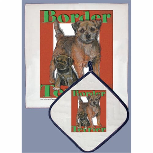 Pipsqueak Productions DP511 Dish Towel and Pot Holder Set - Border Terrier Perspective: front