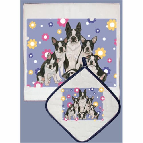 Pipsqueak Productions DP542 Dish Towel and Pot Holder Set - Boston Terrier Family Perspective: front