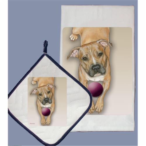 Pipsqueak Productions DP582 Dish Towel and Pot Holder Set - Pit Bull Perspective: front