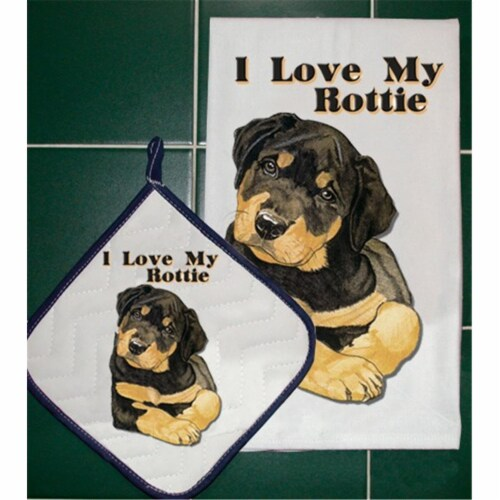 Pipsqueak Productions DP826 Rottweiler Dish Towel And Pot Holder Set Perspective: front