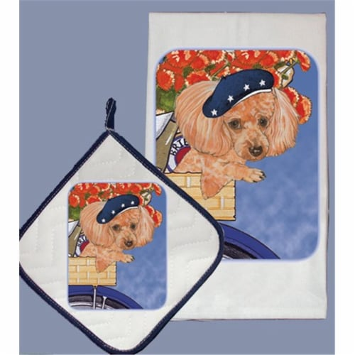 Pipsqueak Productions DP884 Poodle Toy Dish Towel And Pot Holder Set Perspective: front