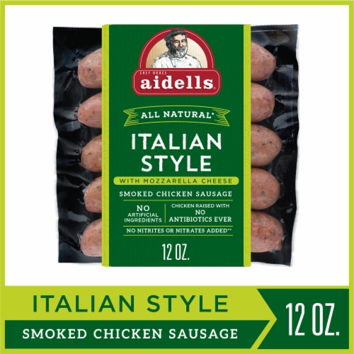 Aidells Italian Style with Mozzarella Cheese Smoked Chicken Sausage Perspective: front