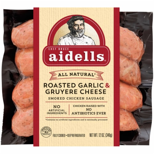 Aidells All Natural Roasted Garlic & Gruyere Cheese Smoked Chicken Sausage Perspective: front