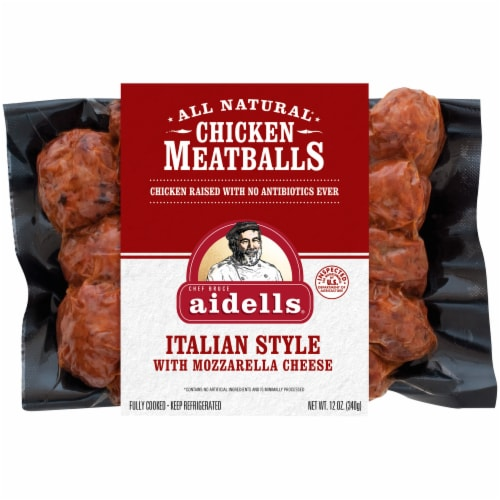 Aidells Italian Style with Mozzarella Cheese All Natural Chicken Meatballs Perspective: front