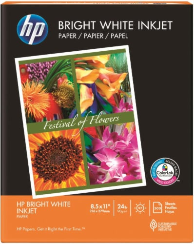 HP Bright White Inkjet Paper - 500 Pack - 8.5 x 11-Inch Perspective: front