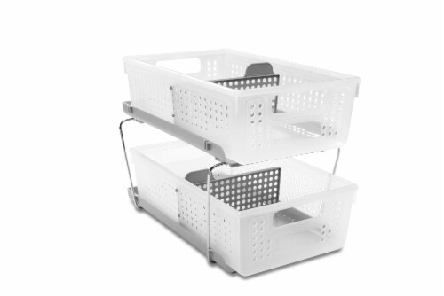 madesmart® Two Tier Organizer with Dividers - Gray/Clear Perspective: front