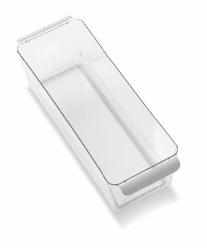 madesmart® Narrow Deep Bin - Gray/Clear Perspective: front