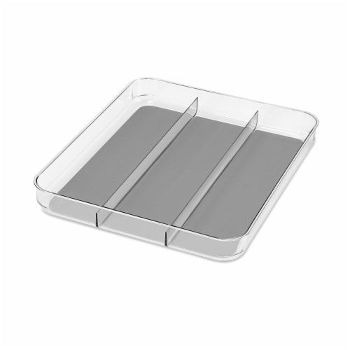 madesmart® Soft-Grip Utensil Tray - Clear/Gray Perspective: front