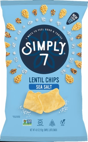 Simply7 Sea Salt Lentil Chips Perspective: front