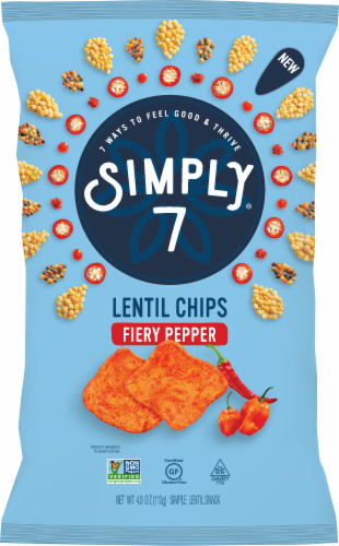 Simply 7 Fiery Hot Pepper Lentil Chips Perspective: front