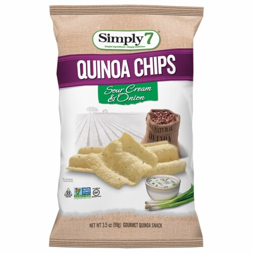 Simply 7 Sour Cream and Onion Quinoa Chips, 3.5 Ounce -- 12 per case. Perspective: front