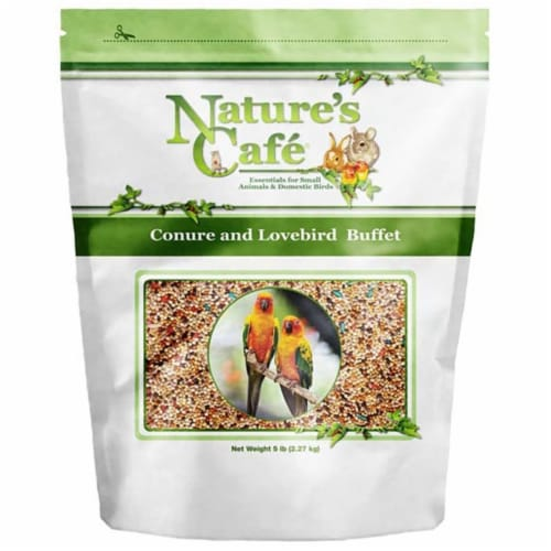 Natures Cafe NF00398 5 lbs Conure & Lovebird Buffet Bird Food Perspective: front