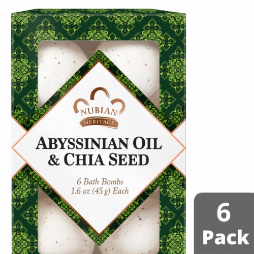 Nubian Heritage Abyssinian Oil & Chia Seed Bath Bomb 6 Count Perspective: front