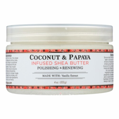 Nubian Heritage 100% Organic Shea Butter Infused With Coconut & Papaya  - 1 Each - 4 OZ Perspective: front