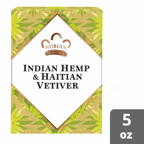 Nubian Heritage Indian Hemp and Haitian Vetiver Bar Soap Perspective: front