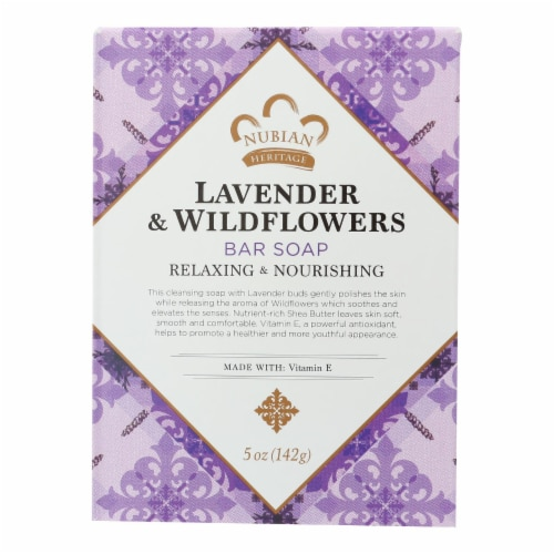 Nubian Heritage Lavender & Wildflowers Shea Butter Soap Perspective: front