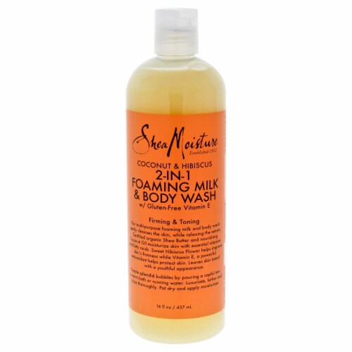 Shea Moisture Coconut & Hibiscus 2In1 Foaming Milk & Body Wash Firming & Toning 16 oz Perspective: front