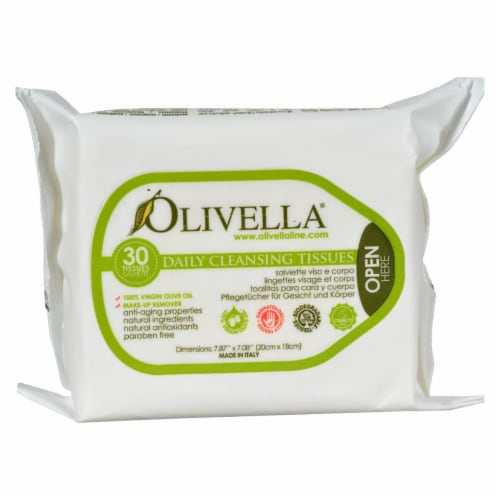 Olivella Daily Facial Cleansing Tissues - 30 Tissues Perspective: front