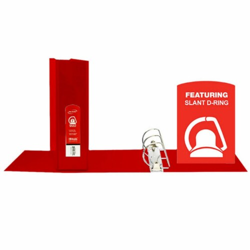 Slant D Ring View Binder with 2 Pockets, 3 , Red Perspective: front