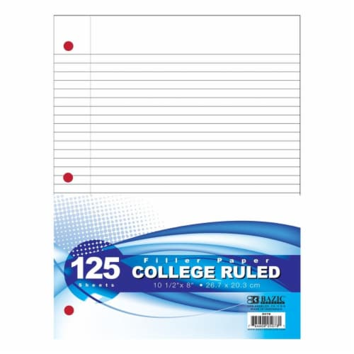 DDI 2336974 BAZIC College Ruled Filler Paper - 24 Count  125 Sheets Case of 24 Perspective: front