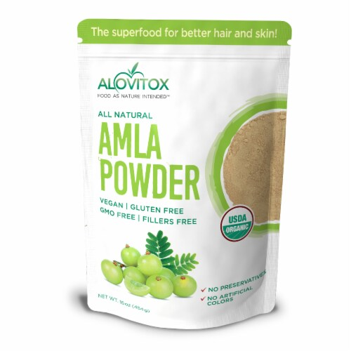 Certified Organic Amla Powder 16oz by Alovitox - Rich in Antioxidants, Smoothie Powder Mix Perspective: front