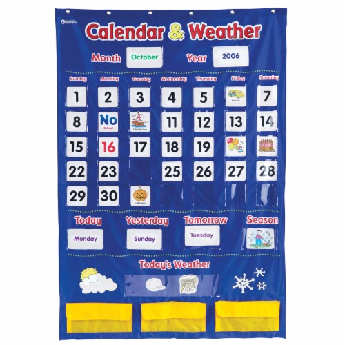 Learning Resources® Calendar and Weather Pocket Chart Perspective: front