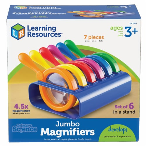 Learning Resources® Primary Science Jumbo Magnifiers with Stand Perspective: front