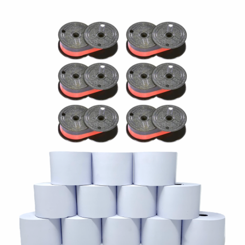 Monroe Supply Kit (6) P65M Ribbon Spools And (12) Rolls Of Premium 20 lb. Bond Paper Perspective: front