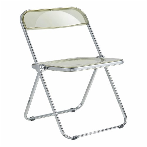 LeisureMod Lawrence Acrylic Portable Folding Chair w/ Sturdy Metal Frame, Amber Perspective: front