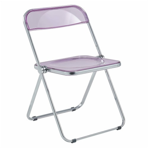 LeisureMod Lawrence Acrylic Portable Folding Chair with Metal Frame, Magenta Perspective: front