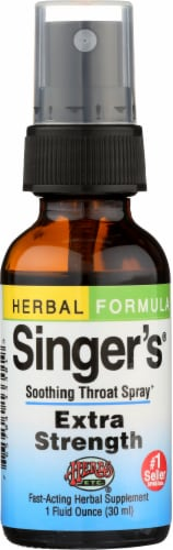 Herbs Etc. Herbal Formula Extra Strength Singer's Soothing Throat Spray Supplement Perspective: front
