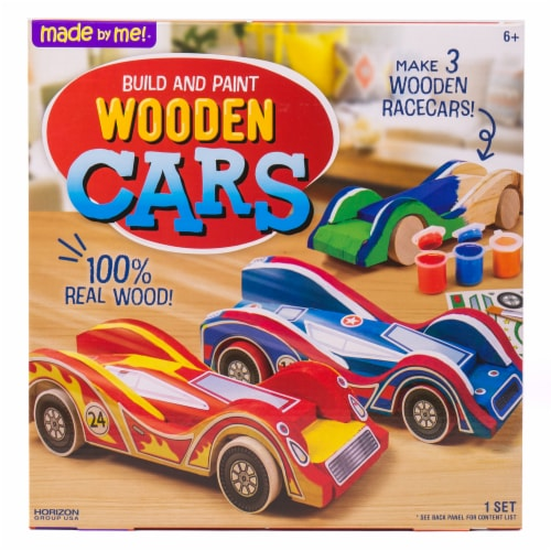 Made By Me Build and Paint Wooden Cars Set Perspective: front