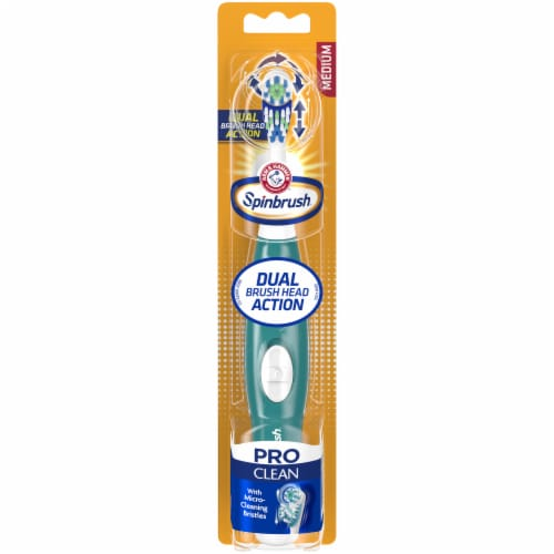Arm & Hammer Spinbrush Pro Clean Dual Action Medium Powered Toothbrush Perspective: front