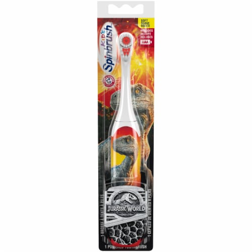 Arm & Hammer Kid's Spinbrush Jurassic World Battery-Powered Toothbrush Perspective: front