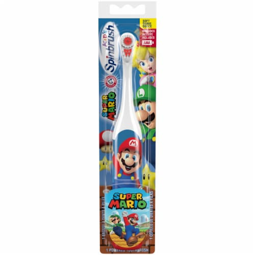 Arm & Hammer Kid's Spinbrush Super Mario Battery-Powered Toothbrush Perspective: front