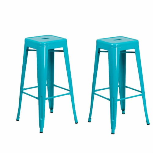 Flash Furniture 30'' High Backless Crystal Teal-Blue Indoor-Outdoor Barstool - 2 Pack Perspective: front