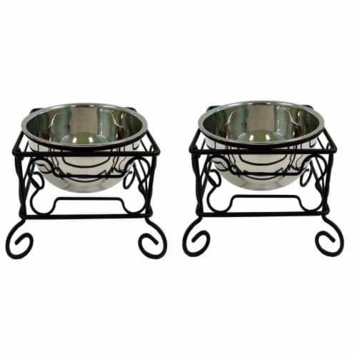 YML Wrought Iron Stand with Stainless Steel Feeder Bowl - 2 Pack Perspective: front