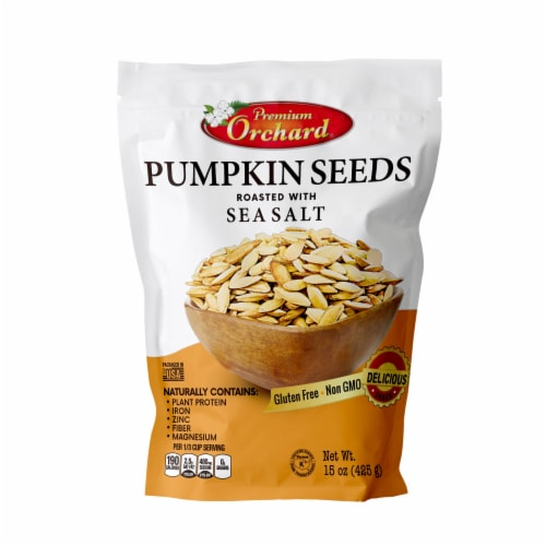 Premium Orchard Roasted Sea Salt Pumpkin Seeds Perspective: front