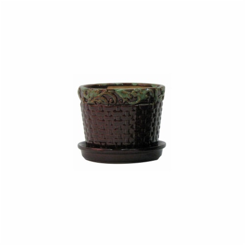 Border Concepts 227804 6.75 in. Deco Rim Basketweave Planter, Moss Brown Perspective: front