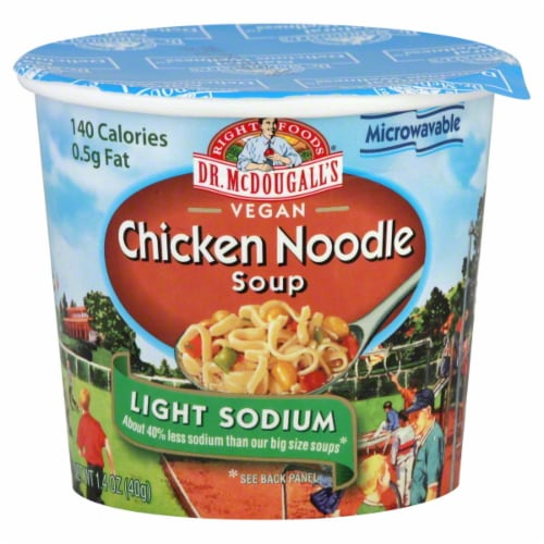 Dr. McDougall`s Vegan Chicken Noodle Light Sodium Soup Perspective: front