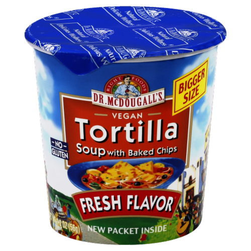 Dr. McDougall's Vegan Tortilla Soup With Baked Chips Perspective: front