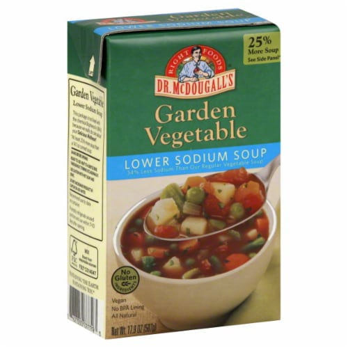 Dr. McDougall's Low Sodium Garden Vegetable Soup Perspective: front