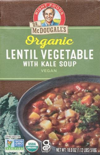 Dr. McDougall's Organic Lentil Vegetable Soup Perspective: front