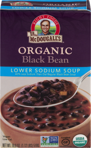 Dr. McDougall's Organic Black Bean Lower Sodium Soup Perspective: front