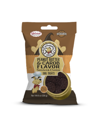 Exclusively Dog Peanut Butter & Carob Sandwich Cremes Dog Treats Perspective: front