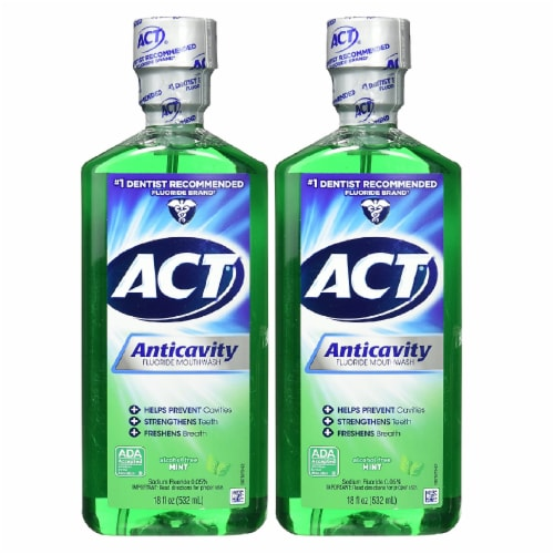 ACT Alcohol Free Anticavity Fluoride Rinse, Mint - 18 oz - 2 pk Perspective: front