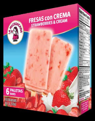La Michoacana Fresas Con Crema Strawberry Paletas Ice Cream Bars Perspective: front